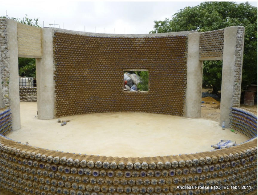Nigeria s plastic bottle house eco nigeria - Building a house with plastic bottles ...